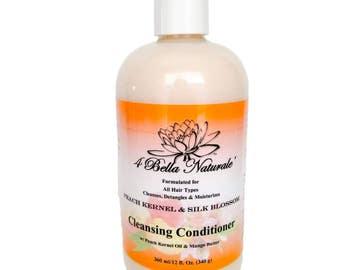 Peach Kernel & Silk Blossom Cleansing Conditioner 12oz., Handcrafter, Natural, Detangler, Mango Butter, Organic