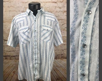Men's vintage western shirt - Rockabilly shirt - Blue and White Floral Light Weight Western Short Sleeve Shirt - Extra Large - XL