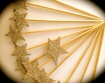Cupcake Toppers, Star - Hand Cut and Glittered -Set of 6