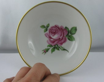 Pink rose: AK Kaiser W Germany. Magical, small porcelain bowl. Porcelain dish with rose decoration. Diameter of about 13.5 cm. VINTAGE