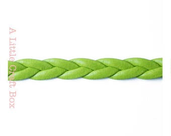faux braided leather - green color cord 2 m