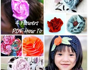 Fabric Flower  Tutorial, PDF Pattern includes 4 flowers Plus 1 Bonus Flower- Headbands, Clips, Weddings, Photoprops