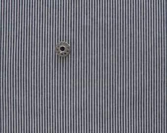 REMNANTS Robert Kaufman Railroad Denim | House of Denim blue and cream stripe cotton fabric pieces.