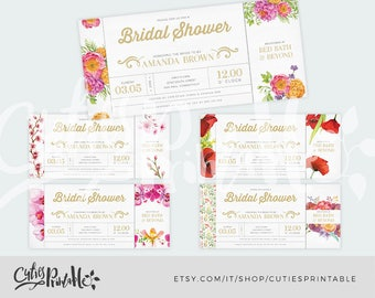 Bridal Shower Invitation Template • Invitation Printable • Watercolor flowers • DIY Wedding Shower Template • PSD Instant Download