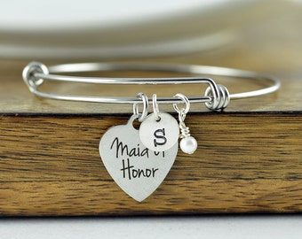 Maid Of Honor Bracelet, Maid Of Honor Gift, Custom Maid of Honor Jewelry, Matron of Honor Gift, Personalized Bangle, Charm Bracelet