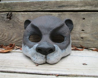 Otter mask, cute, Animal mask, hand painted, masquerade mask, spirit mask, Adorable sea otter, brown, River Otter, Sea Otter
