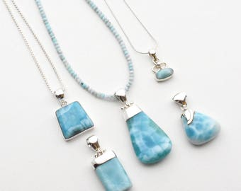Larimar necklace etsy larimar pendant and necklace set genuine larimar with sterling silver create your own larimar necklace each piece sold individually aloadofball Gallery