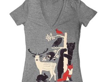 Forest Friends Womens Fitted VNeck Girls T-Shirt Gray Tee Shirt Deer Bird Fox Rabbit Owl Bear Raccoon Animals Nature Tree Grey Tshirt