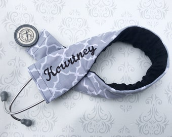 Personalized Stethoscope Cover - Nurse, Doctor, Med Student, Nursing Student, Medical Assistant - Nurse Gift - Gray Moroccan Tile with Black