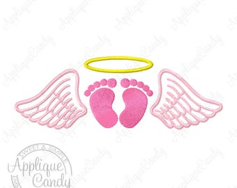 Angel Wing Footprints Halo Fill Machine Embroidery Design 4x4 5x5 6x6 5x7 our little angel memory memorial infant loss INSTANT DOWNLOAD