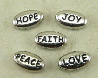 5 TierraCast Word Beads Mix Pack > Love Peace Joy Hope Faith - Rhodium Silver Plated LEAD FREE Pewter - I ship Internationally a3