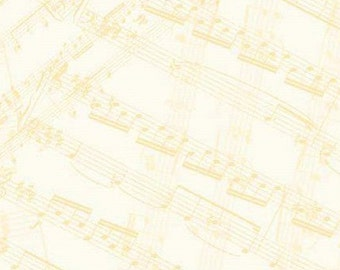 Play Your Song bt Tara Reed for SSI - Southsea Imports #31577 -- Golden Tan on Cream  Tossed Sheet Music -- 100% Cotton