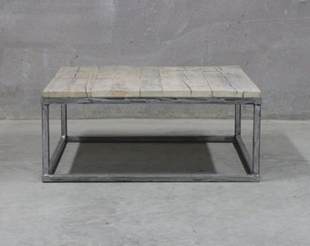 Reclaimed Industrial Coffee table with Steel Box Frame (The Cuban)