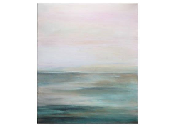 Tableau paysage abstrait pastel gris bleu p trole rose p le - Peinture jaune pale ...