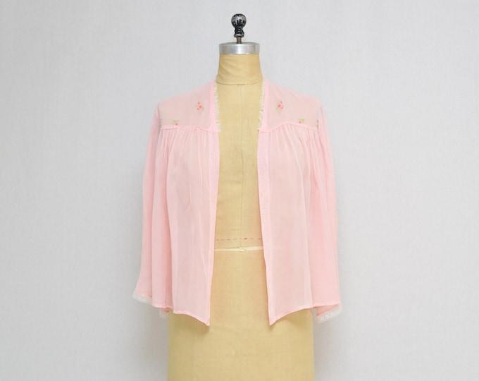 Vintage 1960s Pink Embroidered Bed Jacket