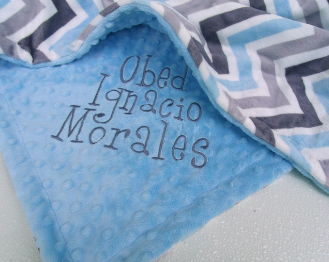 Gray and Blue Minky Chevron Baby Blanket with Baby Blue Dot Minky Back