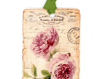 Vintage style Rose Gift Tags , Antique Rose Tags , French Tags , Pink Roses , Bluebird Lane Tags , Bluebirdlane , Shabby Tags