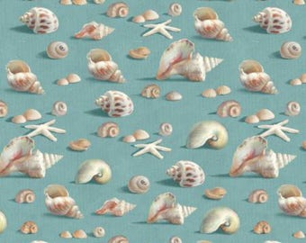 Wilmington Prints Coastal Bliss Blue Seashells Allover Fabric - 1 yard