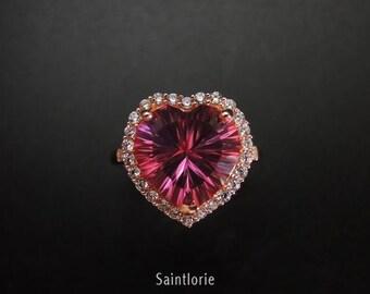 7.5 Carat Pink Topaz Engagement Ring