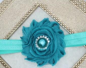 Teal headband, turquoise baby girl headband, teal rhinestone flower girl headband, turquoise headband, turquoise hair accessory teal girls