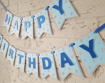 Happy birthday banner personalized. Boy birthday banner. Boy birthday decorations. Personalised birthday banner. Blue. Silver or gold.