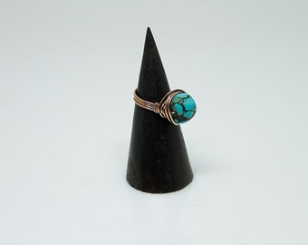 Turquoise NestingCopper Ring, Sodalite,Stone Ring,Natural Stone Ring,Wire Wrapped Ring,Copper Ring,Unique Ring,Womens ring,Blue R53