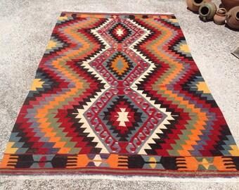 "Area rug 6x9, kilim  rug 6x9, Turkish rug 6x9, kilim rug, area rug, 110"" x 72"", Kilim rug, Vintage Turkish rug, kelim, vintage bohemian, 588"