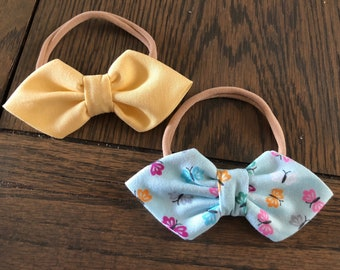 Light Yellow and Multi Colored Butterfly Double Arrow Headband Set