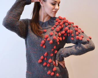 Bubbly chunky oversized hand knitted pullover
