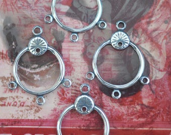 FOUR Brass Hoop Earrings with Four Holes, Boho Earring Findings, Sterling Silver Ox, Gypsy Style, Made in the USA