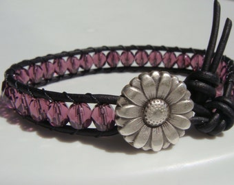 Purple Beaded Leather Bracelet with Daisy Button