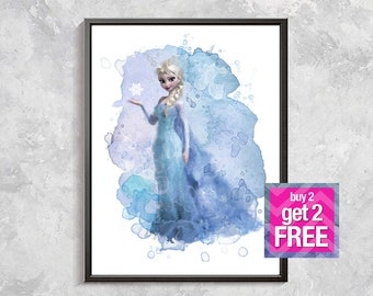 Elsa Frozen Print, Elsa Princess Art, Elsa Watercolor Printable, Frozen Elsa, Nursery Decor, Elsa Gift, Queen Elsa Poster, digital download