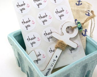 Round thank you labels with nautical pink anchor - set of 63 white stickers