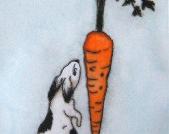 Pointe sèche originale de lapin mignon imprimer coloriée à la main avec aquarelle grands rêves se réalisent