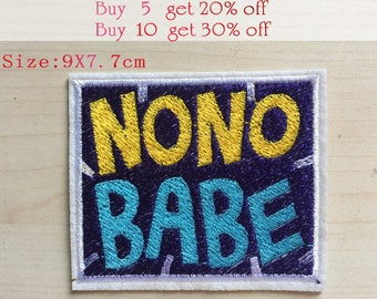 NONO BABE Letter Patches Iron on or Sewing on Patch Large Letter  Yellow Blue Patch Embellishments Embroidery Fonts18022402