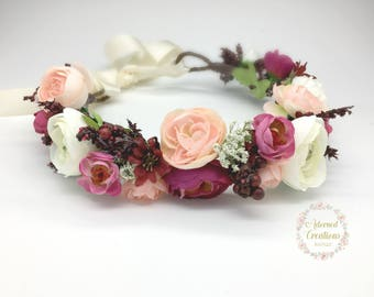 Burgundy and Blush Pink Flower Crown, Wedding Flower Crown, Flower Girl Crown, Flower Halo Headband, Maternity Flower crown