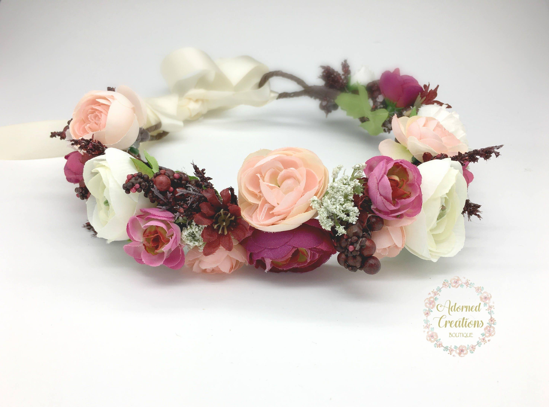 Burgundy and blush pink flower crown wedding flower crown zoom izmirmasajfo