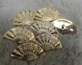 Golden fan Buttons shank for crafts