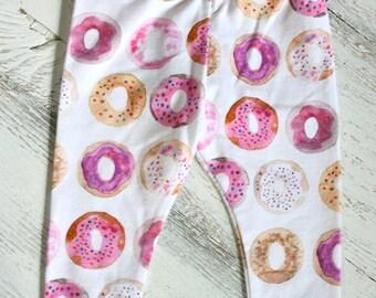 Donut Baby Leggings// Toddler Infant Leggings // Pink Sprinkles Donuts // Watercolor Pants