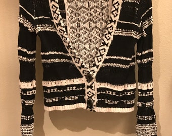 FREE PEOPLE Small Cropped Cardigan Black and White Knit Very cute