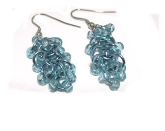 Blue or Gold Shaggy Loops Chain Maille Earrings