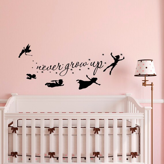 Peter Pan Wall Decal Quote Never Grow Up Children Flying