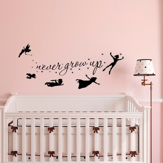 Exceptional Peter Pan Wall Decal Quote Never Grow Up Children Flying