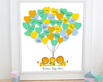 Baby Shower Guest Book  balloon baby lion jungle baby shower guestbook - Guest Book Alternative