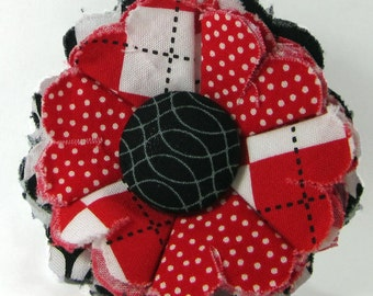 Fabric Flower Pin, Fabric Flower Brooch, raw edge flower, red, black, white - FP11