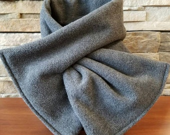 Gray Scarf, Keyhole Scarf, Pull Thru Fleece Scarf, Womens Scarf, Winter Scarf, Valentines Gift, Gray Fleece Scarf, Gift for Her, Mom Gift
