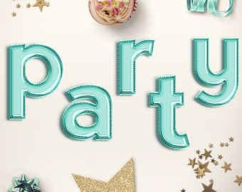 PARTY TIME! Lower Case Mint Letter Balloons Clipart, Celebration Balloons Font, Mint Foil Balloons Alphabet, Party Letters, BUY5FOR8