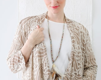 Feathers on Natural African Opal Beaded Necklace - Real Feather Necklace - Real Feather Tassel Necklace