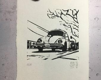 VW Beetle in California - original linocut
