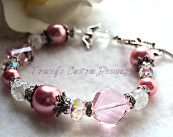 Breast Cancer Awareness Keepsake Bracelet w/ Angel - CUSTOM MADE DESIGNS